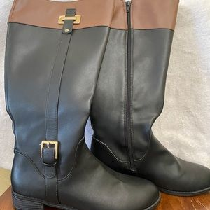 Knee high black and brown boots